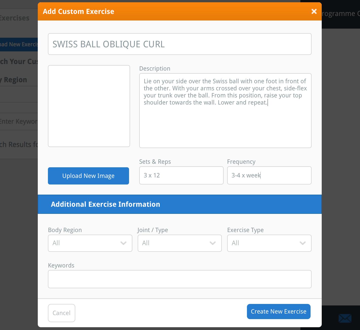 the Add Custom Exercise window