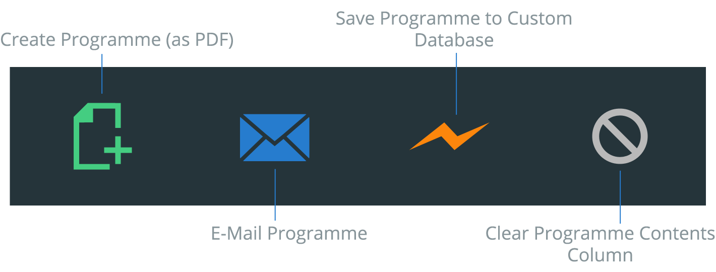 Create / E-mail / Save Programme buttons