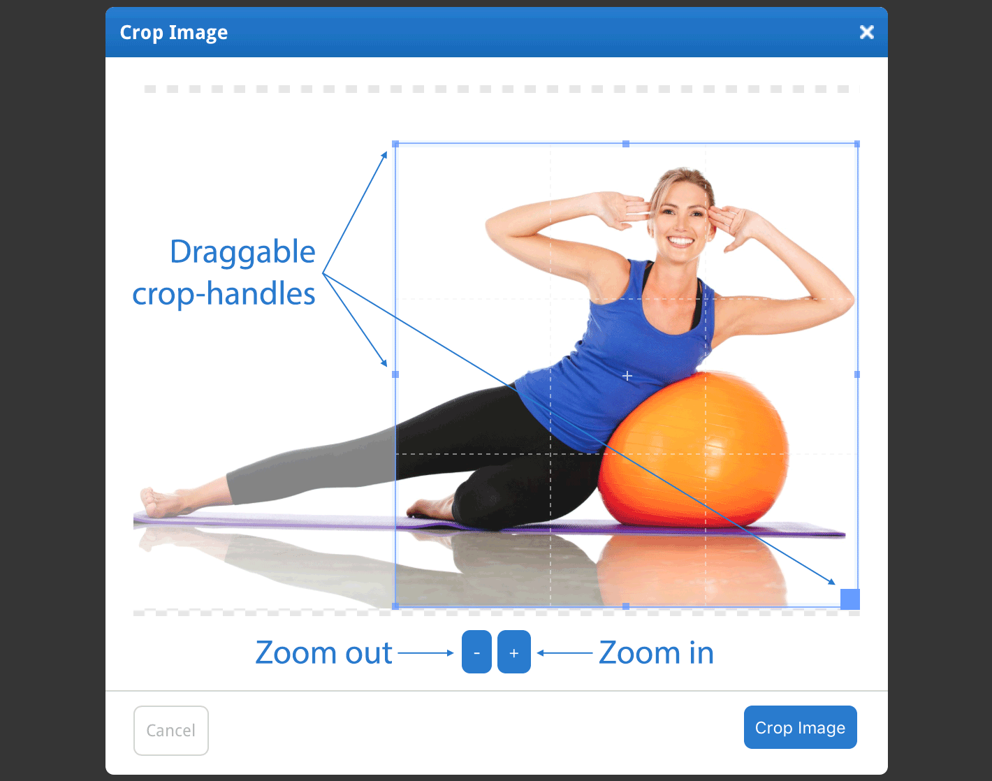 Drag the crop-handles and zoom in and out