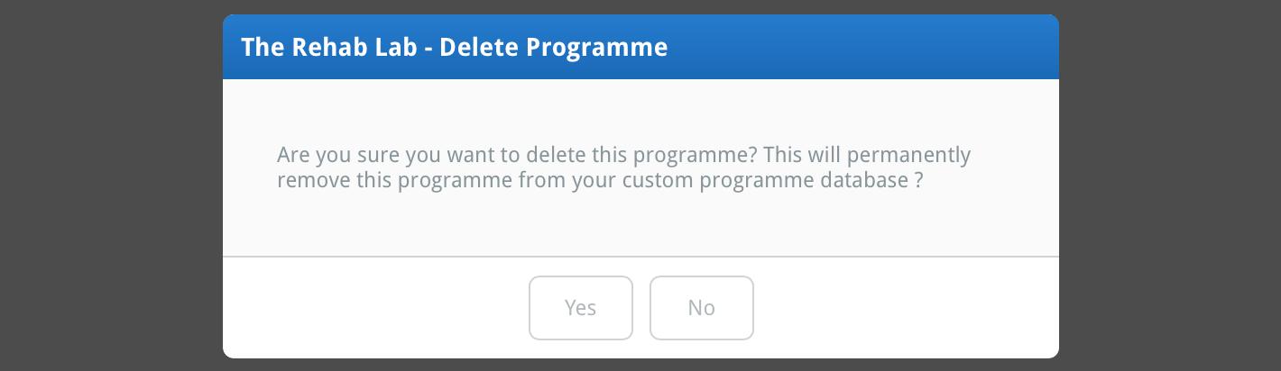 Confirm programme deletion