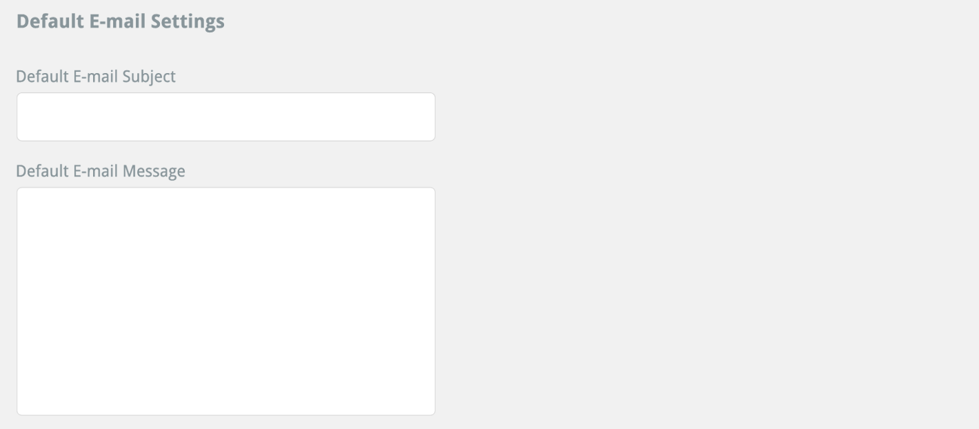 default e-mail settings