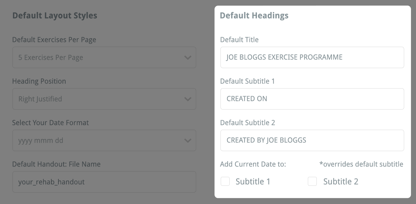 your default headings