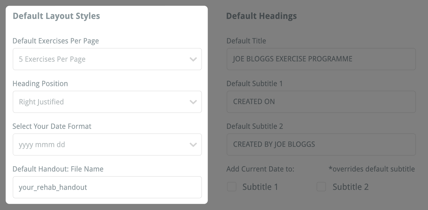 your default layout styles
