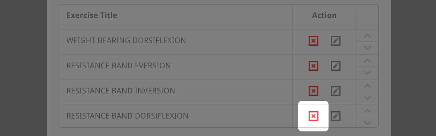 remove exercises in a custom programme