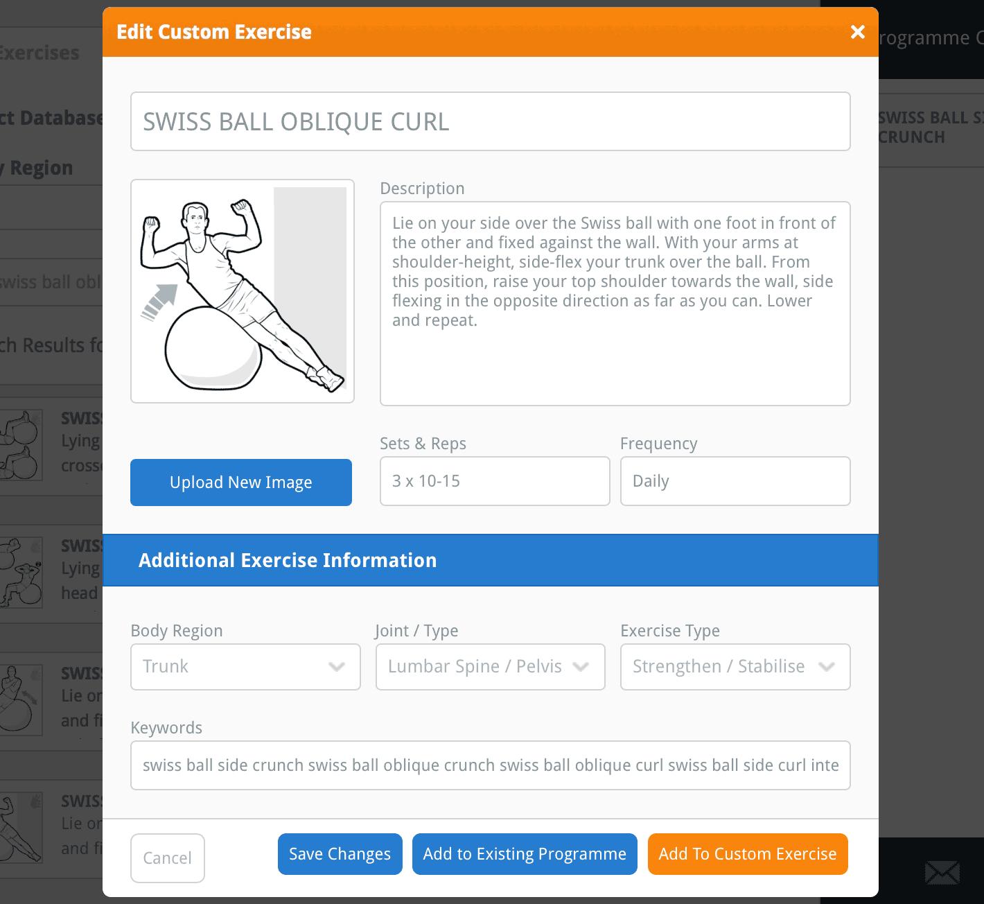Edit Custom Exercise window