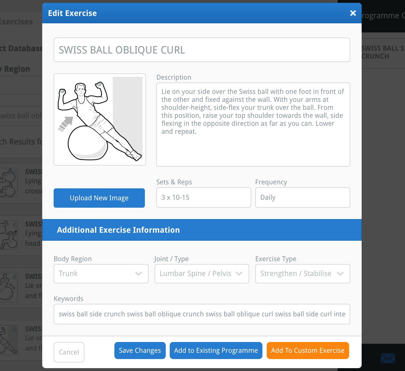 the Edit Exercise window