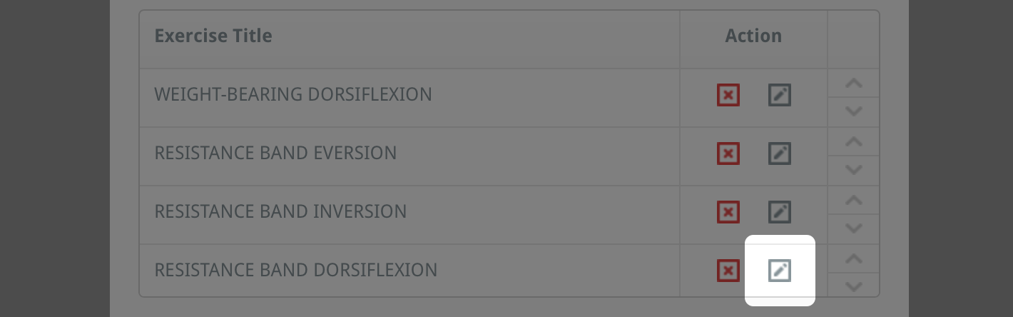 edit exercises in a custom programme