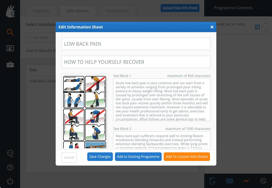 The Edit Information Sheet window