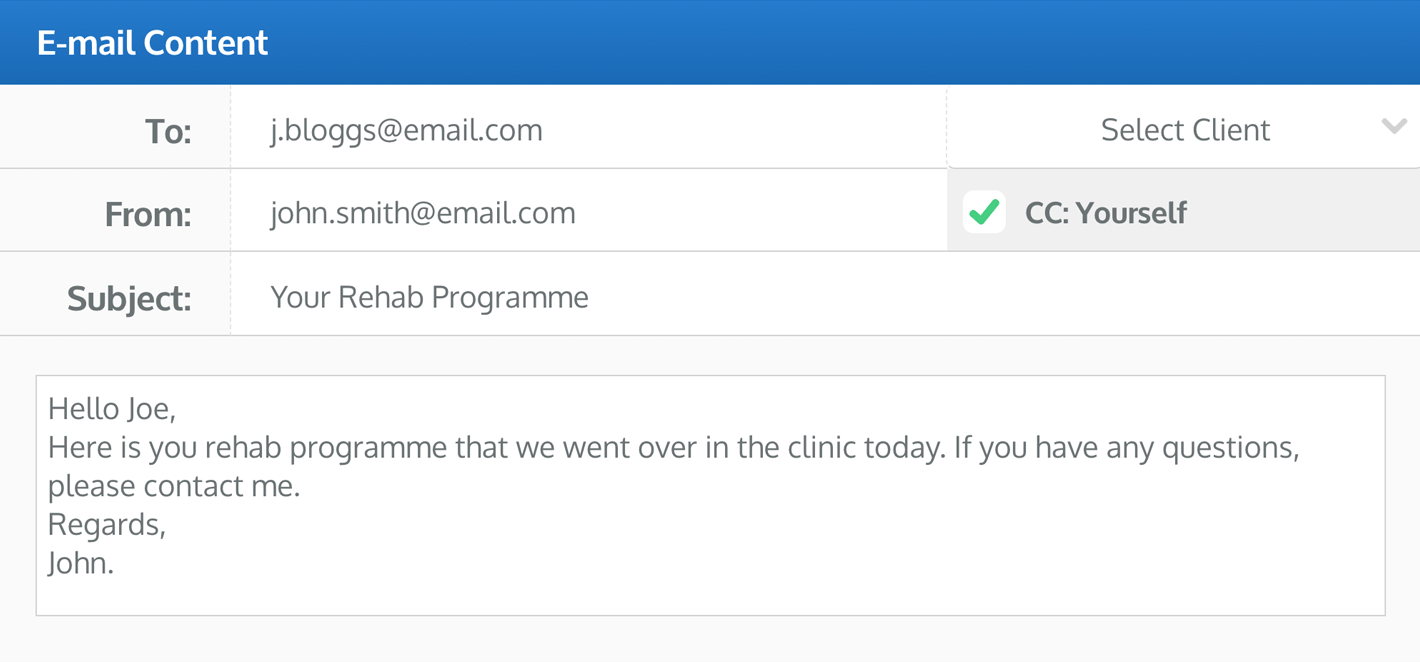the E-mail Programme window