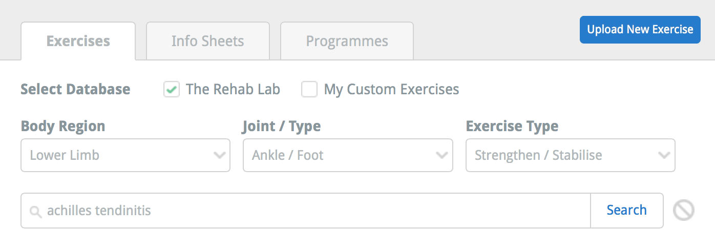 The Rehab Lab exercise search options