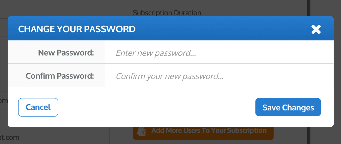 the Change Your Password window