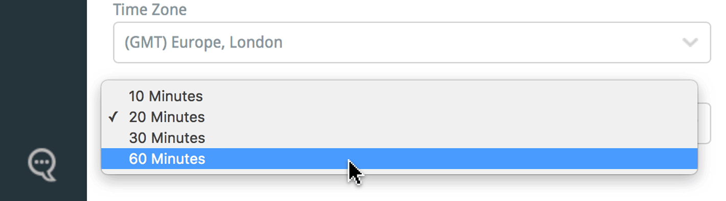 select your automatic logout time