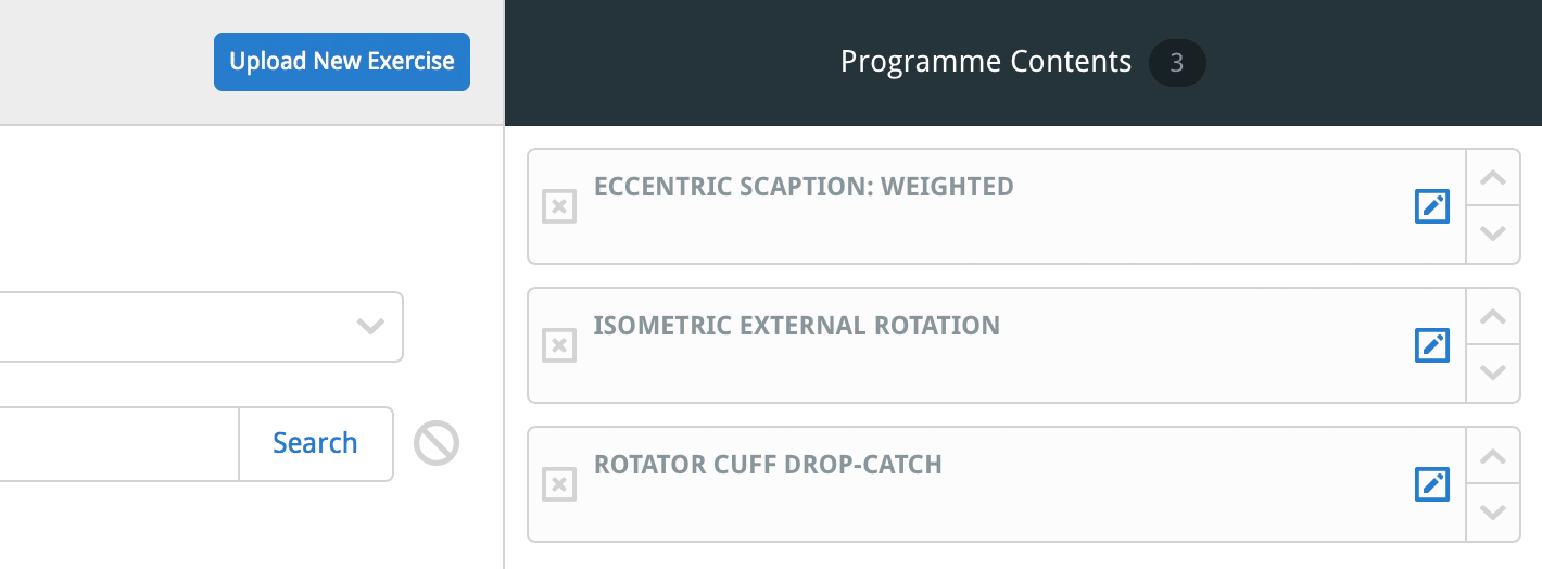 Add the exercise to the programme contents column