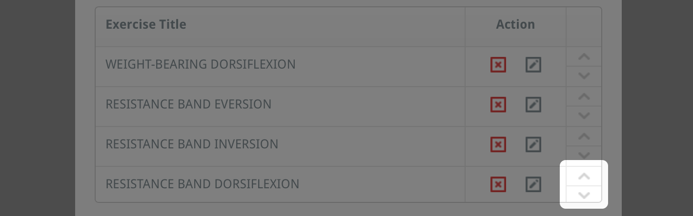 reorder exercises in a custom programme