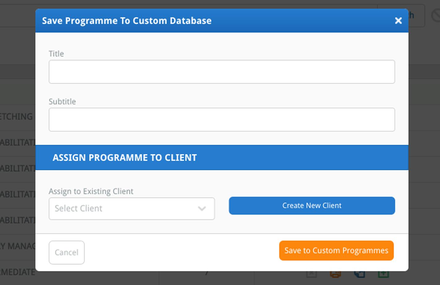 the Save Custom Programme window