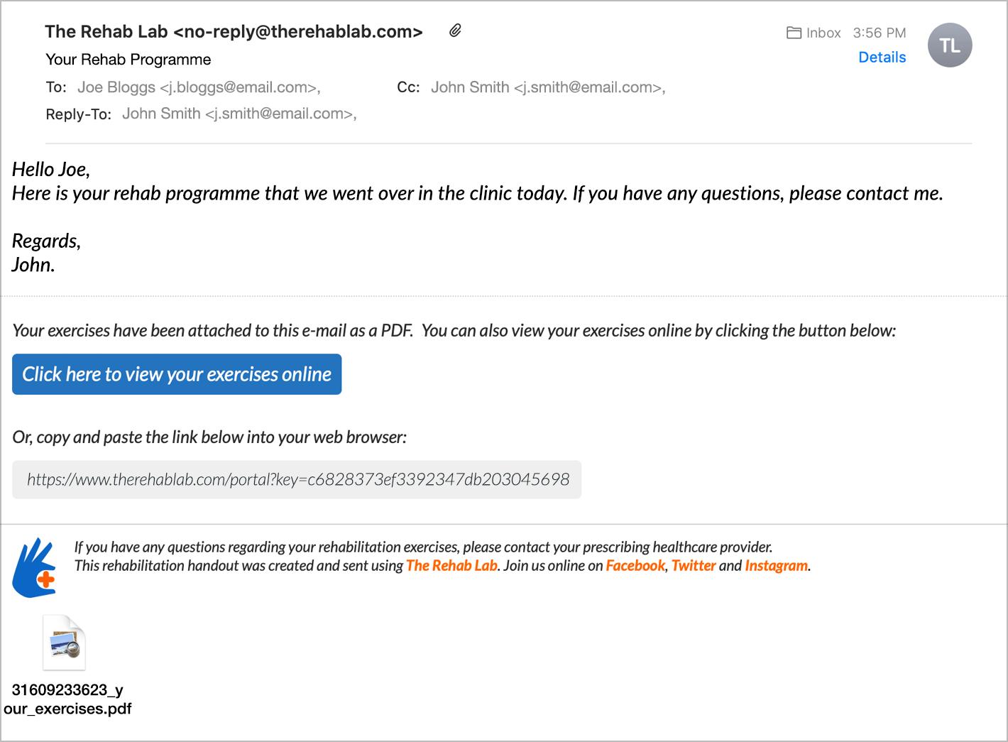 click the E-mail Programme button